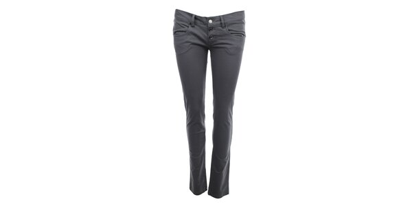 Dámské šedé kalhoty s knoflíčkovým zapínáním Phard