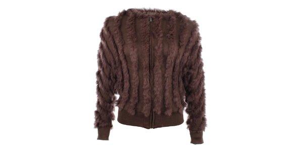 Dámský huňatý hnědý svetr s kožešinkou Gaudí