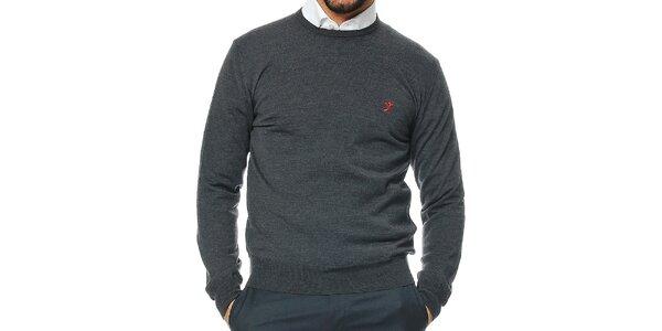 Pánský antracitový svetr z merino vlny Uomini Italiani