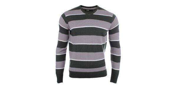 Pánský pruhovaný svetr s véčkovým výstřihem Big Star
