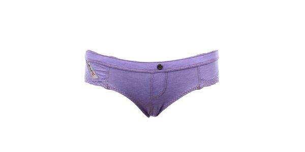 Dámské fialové kalhotky s krajkou Diesel