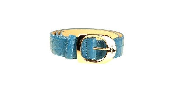 Dámský modrý pásek se zlatou sponou DKNY