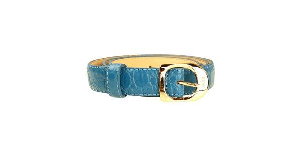 Dámský modrý tenký pásek se zlatou sponou DKNY