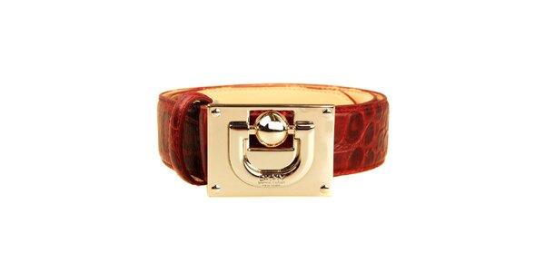 Dámský rudý pásek s velkou zlatou sponou DKNY