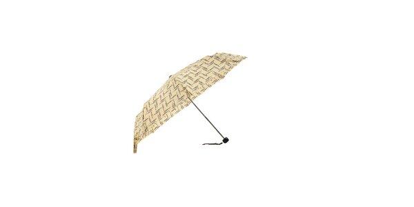 Lehký bílý skládací deštník Ferré Milano s drobným vzorkem