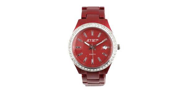Dámské tmavě červené hodinky s bílými kamínky Jet Set