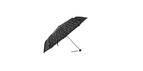 Lehký černý skládací deštník Ferré Milano s drobným vzorkem