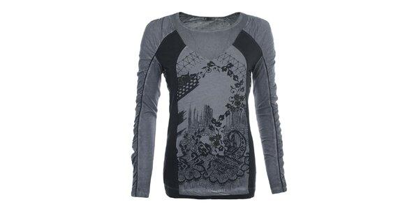 Dámské šedé vzorované tričko Angels Never Die