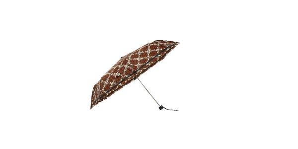 Lehký hnědý skládací deštník Ferré Milano s bílým vzorem mřížky