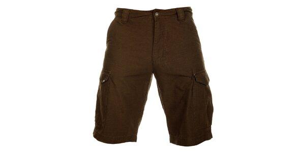 Pánské tmavě hnědé bavlněné šortky Hannah
