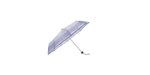 Lehký fialový skládací deštník Ferré Milano s černým pruhem a grafickým vzorkem