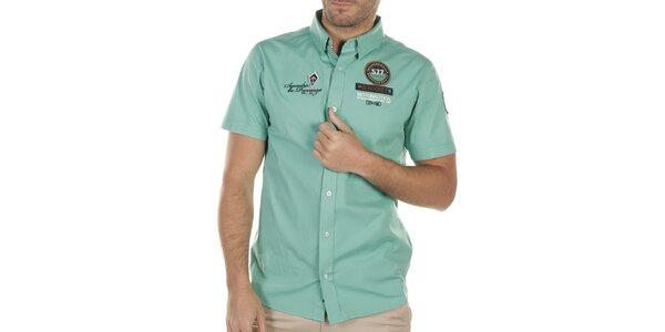 Pánská tyrkysová košile s nášivkami na hrudi Bendorff