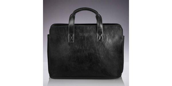 Pánská černá taška s popruhem a žíháním Solier