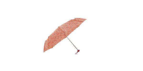 Lehký červený skládací deštník Ferré Milano s vanilkově žlutým grafickým vzorkem