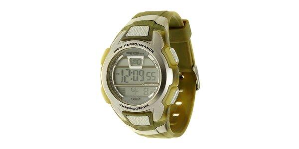 Unisexové stříbrno-zelené digitální hodinky RG512