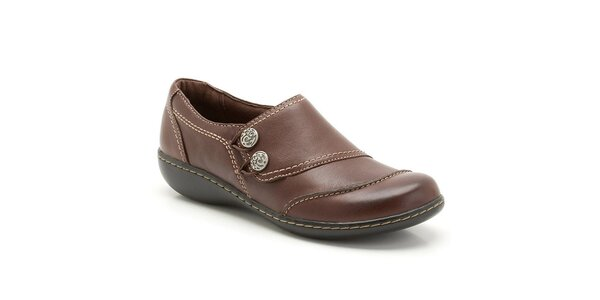 Dámské hnědé kožené boty s prošíváním Clarks