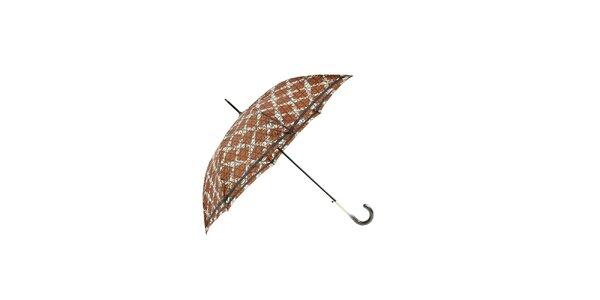 Elegantní hnědý deštník Ferré Milano s bílou mřížkou