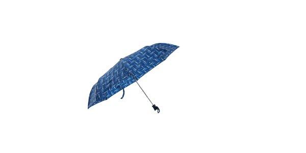 Modrý automatický skládací deštník Ferré Milano s drobným vzorkem