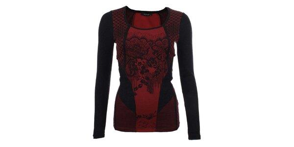 Dámské červeno-černé tričko s dlouhým rukávem Angels Never Die