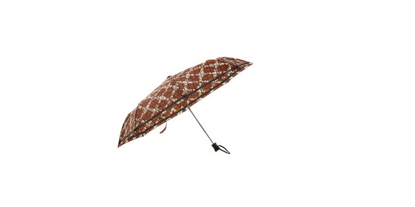 Hnědý automatický skládací deštník Ferré Milano s bílou mřížkou