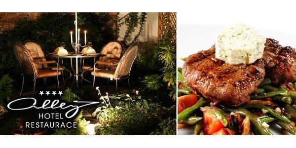 340 Kč za DVA šťavnaté hovězí steaky s omáčkou a přílohou dle výběru.