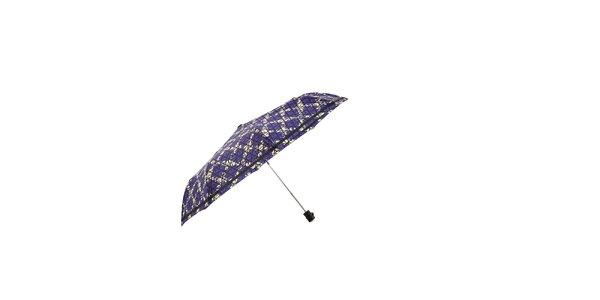 Fialový automatický skládací deštník Ferré Milano s bílou mřížkou