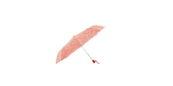 Automatický červený skládací deštník Ferré Milano s odlehčenou konstrukcí