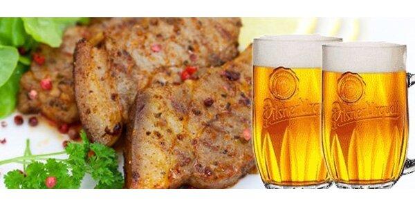 129 Kč za DVĚ marinované krkovičky na česneku a DVĚ plzeňská piva!