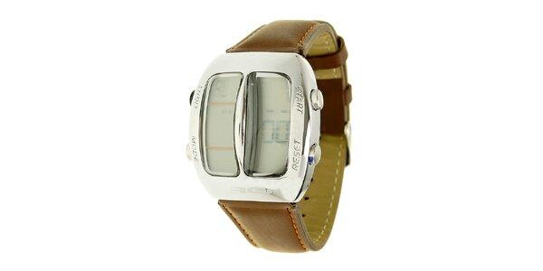 Unisexové hnědé digitální hodinky RG512