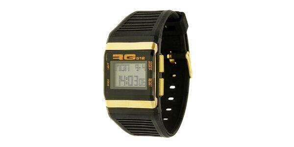 Unisexové černo-zlaté digitální hodinky RG512