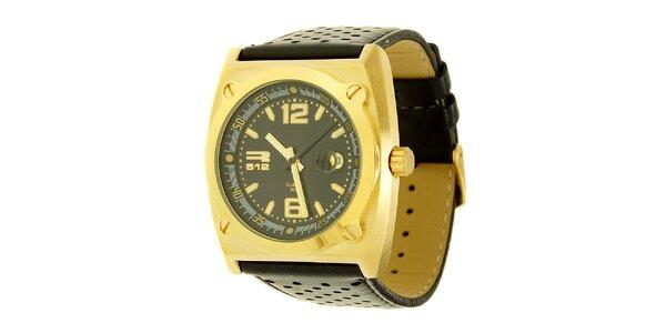 Unisexové černo-zlaté analogové hodinky RG512