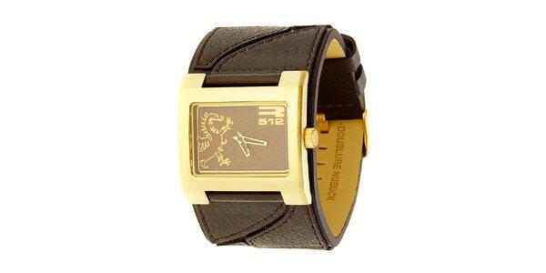 Unisexové hnědo-zlaté analogové hodinky RG512