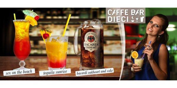 2 alkoholické drinky v Caffe Dieci