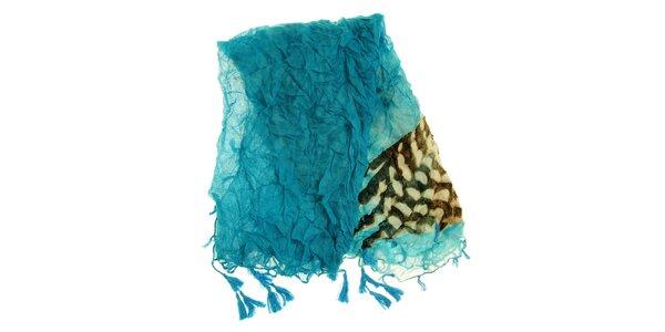 Dámský tyrkysový šátek se vzorem Fraas