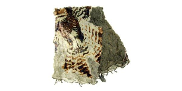 Dámský šedý vzorovaný šátek Fraas