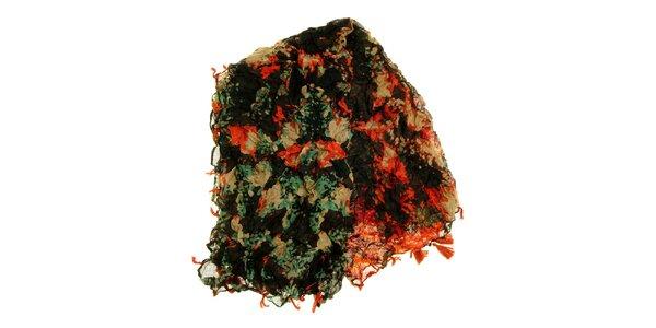 Dámský oranžovo-zelený vzorovaný šátek Fraas
