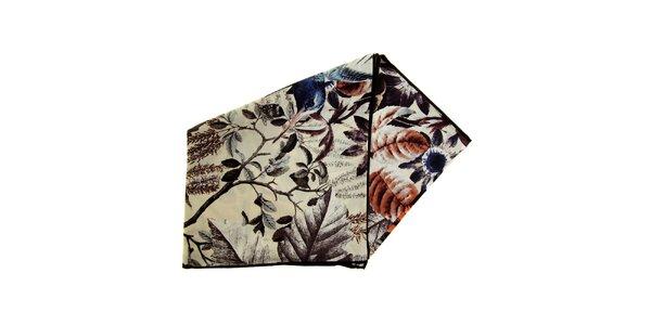 Dámský hnědo-béžový hedvábný šátek Fraas
