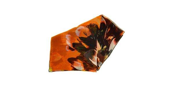 Dámský vzorovaný hedvábný šátek v teplých odstínech Fraas f7a3bc5961