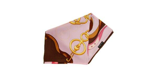 Dámský růžovo-hnědý hedvábný šátek Fraas 7344590adf