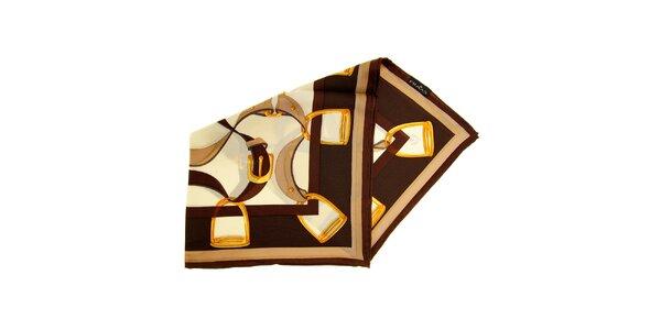 Dámský hnědý hedvábný šátek Fraas