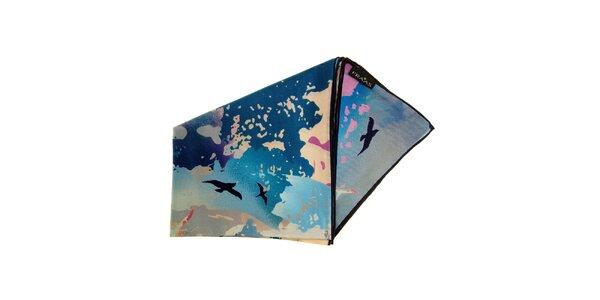 Dámský modro-růžový hedvábný šátek Fraas