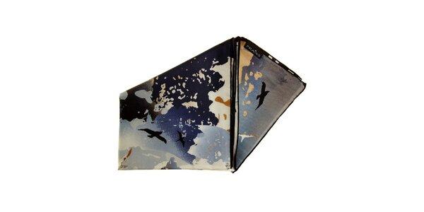 Dámský hedvábný hnědo-černý šátek Fraas