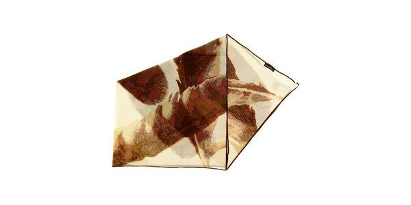 Dámský hnědo-bílý bavlněný šátek Fraas
