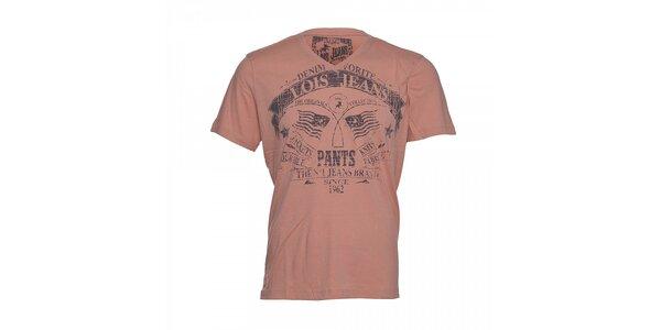 Růžové pánské tričko Lois Hector s potiskem