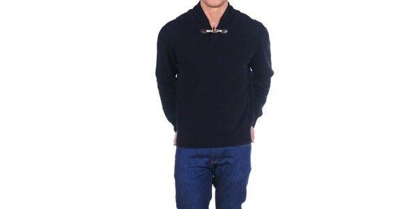 Pánský tmavě modrý vlněný svetr Hackett London s límcem