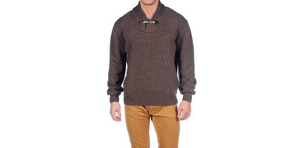 Pánský hnědý vlněný svetr Hackett London s límcem