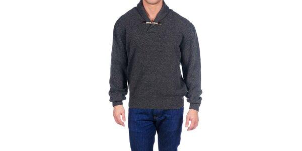 Pánský šedý vlněný svetr Hackett London s límcem