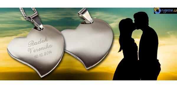 Srdce z chirurgické oceli s vlastní fotografií nebo textem