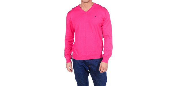 Pánský sytě růžový svetr Hackett London