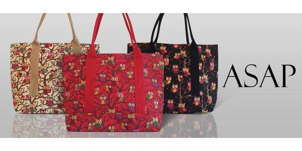 Textilní kabelka s potiskem soviček